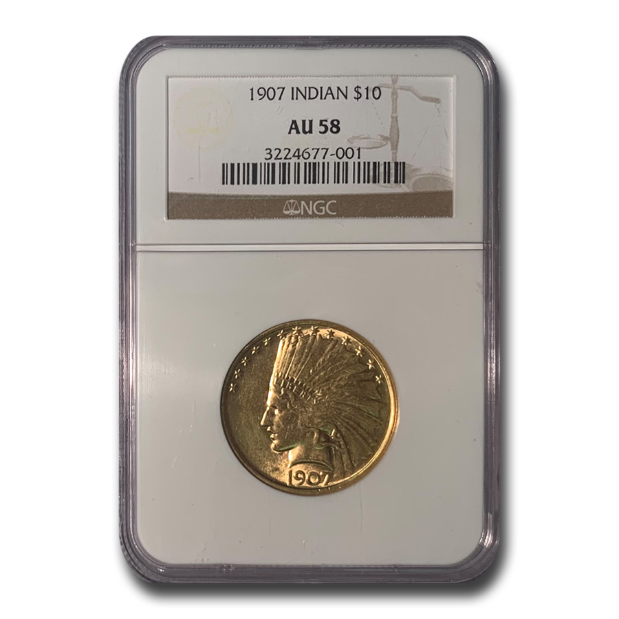 1907 $10 Indian Gold Eagle No Motto AU-58 NGC
